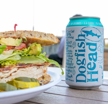 Club Sandwich and Dogfish Head canned beer