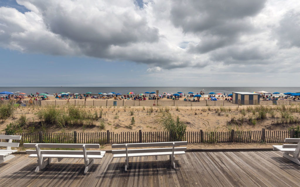 View of crowded Rehoboth Beach from the boardwalk